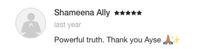 Ayse Durmush Testimonial Shameena Ally